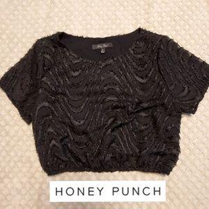 Honey Punch sheer /textured crop top women's small